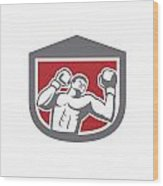 Boxer Punching Boxing Shield Retro Wood Print