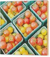 Boxes Of Cherry Tomatoes On Display Wood Print