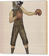 Boxing Bulldog Wood Print