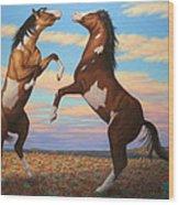Boxing Horses Wood Print