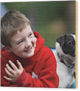 Boy, Age 6, Smiling With Jack Russell Wood Print