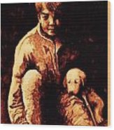 Boy And Puppy Wood Print