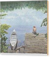 Boy At A Lake Watercolor Portrait Wood Print