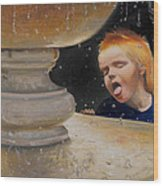 Boy At Fountain Of Youth Wood Print
