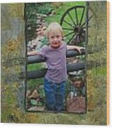Boy By Fence Wood Print