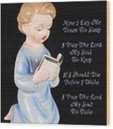 Boy Childs Bedtime Prayer Wood Print