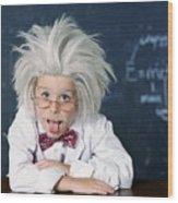Boy Dressed As Einstein Wood Print