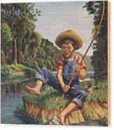 Boy Fishing In River Landscape - Childhood Memories - Flashback - Folkart - Nostalgic - Walt Curlee Wood Print