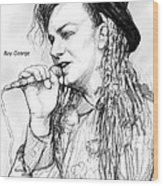 Boy George Art Drawing Sketch Portrait Wood Print