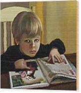 Boy In A Black Sweater Detail Wood Print