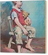 Boy In Chair Wood Print