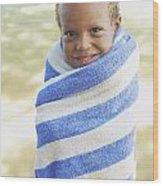 Boy In Towel Wood Print by Kicka Witte