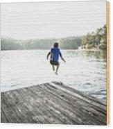 Boy Jumping Off Dock Into Lake Art Print