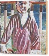 Boy N Best Friend Wood Print by Linda Vaughon