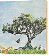 Boy On A Swing Wood Print