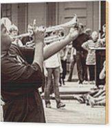 Boy On A Trumpet In Nola Wood Print