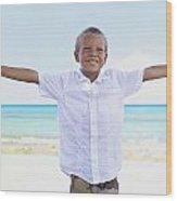 Boy On Beach Wood Print