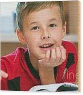 Boy Reading Book Portrait Wood Print