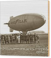 Boy Scouts And Goodyear Blimp Guarding Graf Zeppelin Los Angeles Airport Aug. 26 1929 Wood Print