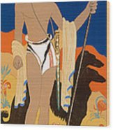 Boy Warrior With Two Borzoi Hounds Wood Print