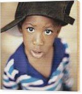 Boy Wearing Over Sized Hat Sideways Wood Print by Ron Nickel
