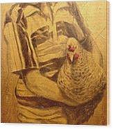 Boy With Chicken Wood Print