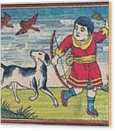 Boy With Dog Ducks Hunting. Bow And Arrow. Landscape. Matches. Match Book Antique Matchbox Cover. Wood Print