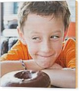 Boy With Donut Wood Print