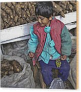 Boy With Grapes - Cusco Market Wood Print