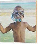 Boy With Snorkel Wood Print