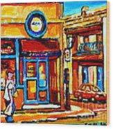 Boy With Steinbergs Bag Near Waldmans Market Paintings Colonial St Vintage Montreal Art C Spandau Wood Print
