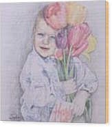 Boy With Tulips Wood Print by Kathy Weidner