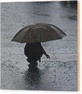 Boy With Umbrella Wood Print