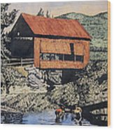 Boys And Covered Bridge Wood Print by Joseph Juvenal