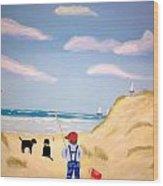 Boys At Sea Wood Print