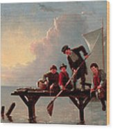 Boys Crabbing Wood Print