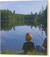Boys Fishing Wood Print