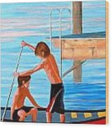 Boys On The Bay Wood Print