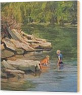 Boys Playing In The Creek Wood Print