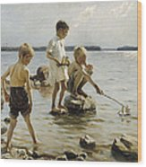 Boys Playing On The Shore Wood Print