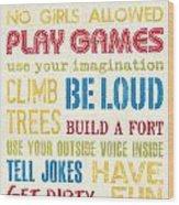 Boys Rules Wood Print