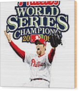 Brad Lidge Ws Champs Logo Wood Print