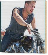Brad Pitt On His Harley Wood Print by Kip Krause