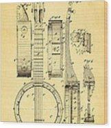 Bradbury Banjo Patent Art 1882 Wood Print