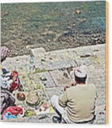 Brahmans Along Bagmati River In Pasupatinath Temple Of Cremation Complex In Kathmandu-nepal  Wood Print