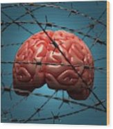 Brain And Barbed Wire Wood Print