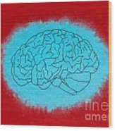 Brain Blue Wood Print