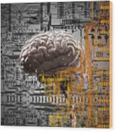 Brain Under Layers Of Circuit Board,  Wood Print
