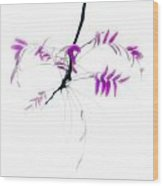 Branch With Purple Leaves Wood Print