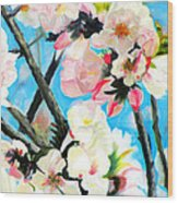 Branches Of Almond Tree Wood Print